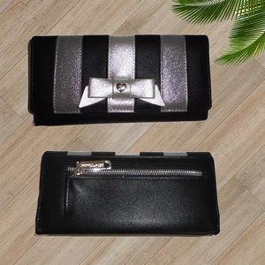 BETSEY JOHNSON BLACK SILVER FLAP OVER WALLET